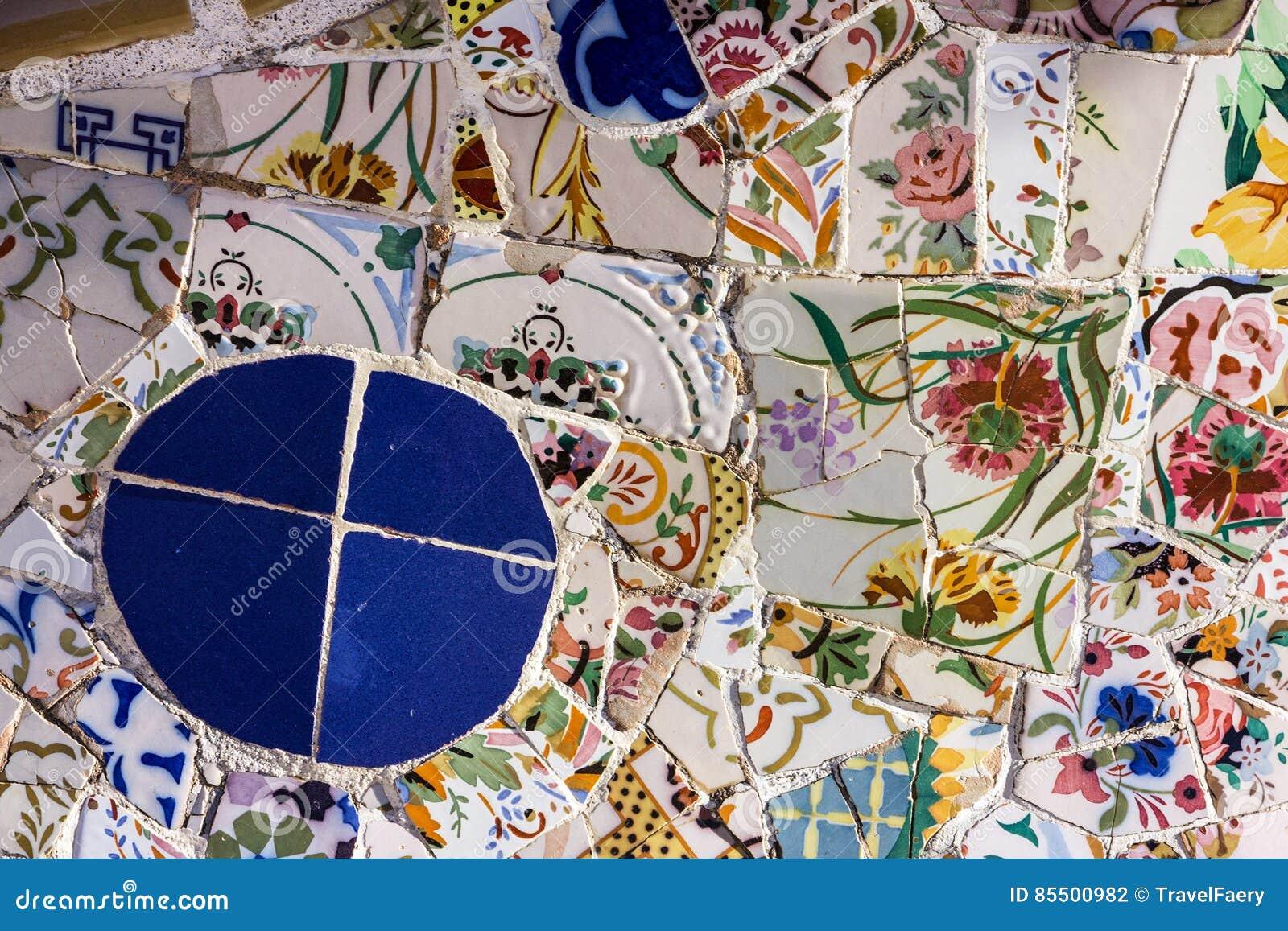 Defekte glasmosaikfliese dekoration im park guell for Dekoration spanien