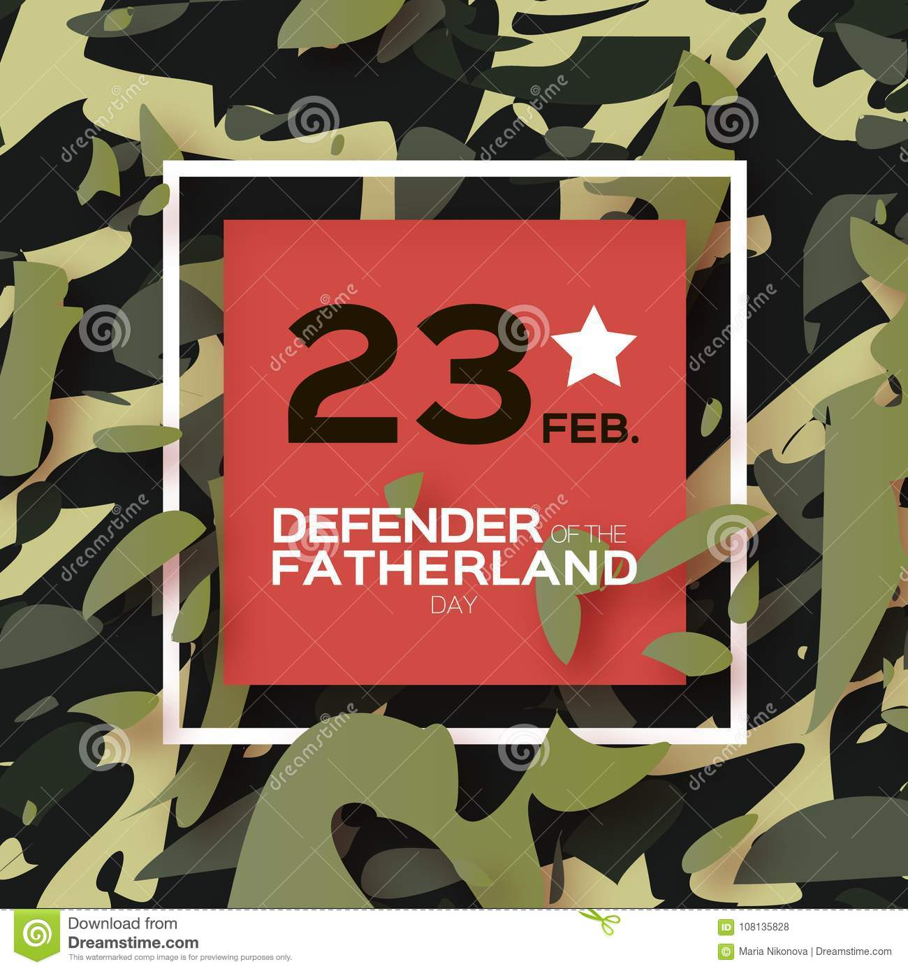 Defender Of The Fatherland Day 23 February Greeting Card For Men On