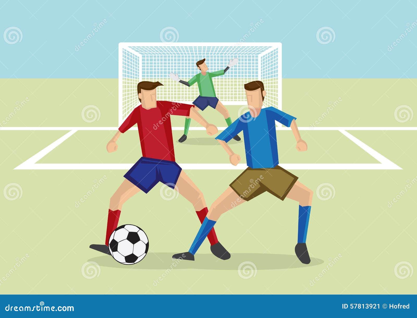 El Portero Del Fútbol Golpeó El Ejemplo Del Vector Del: Defensa De Hombre A Hombre De Los Deportes Del Fútbol
