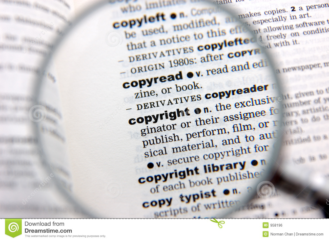 definition of copyright stock photo. image of black, macro - 958196