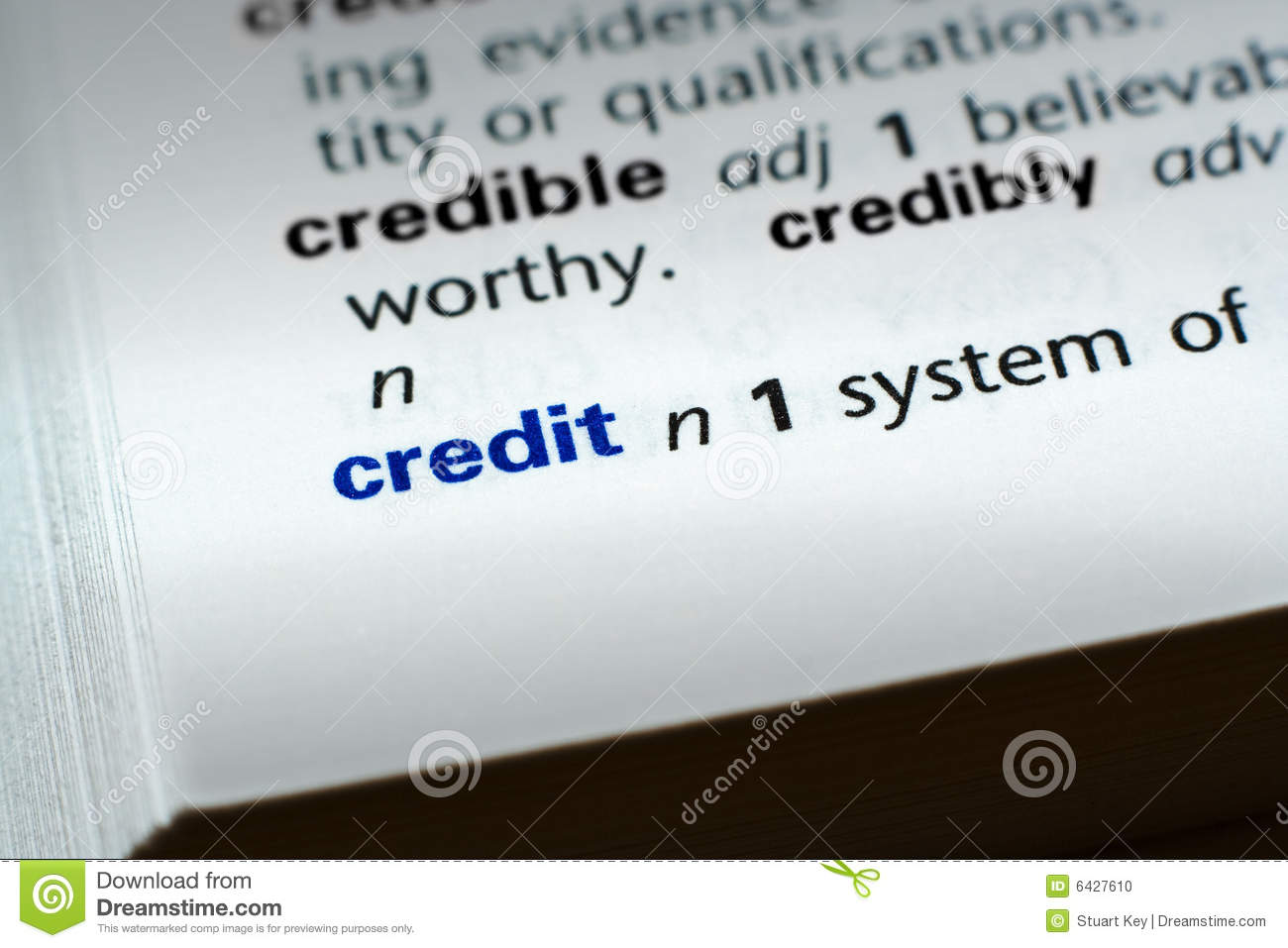 Bad Credit Loan Lenders >> Definition Of Credit Stock Photo - Image: 6427610