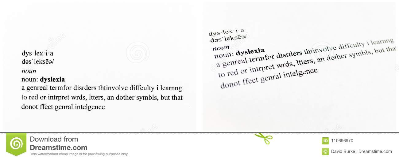 Definition Dyslexia Disorder Stock Photo Image Of Special