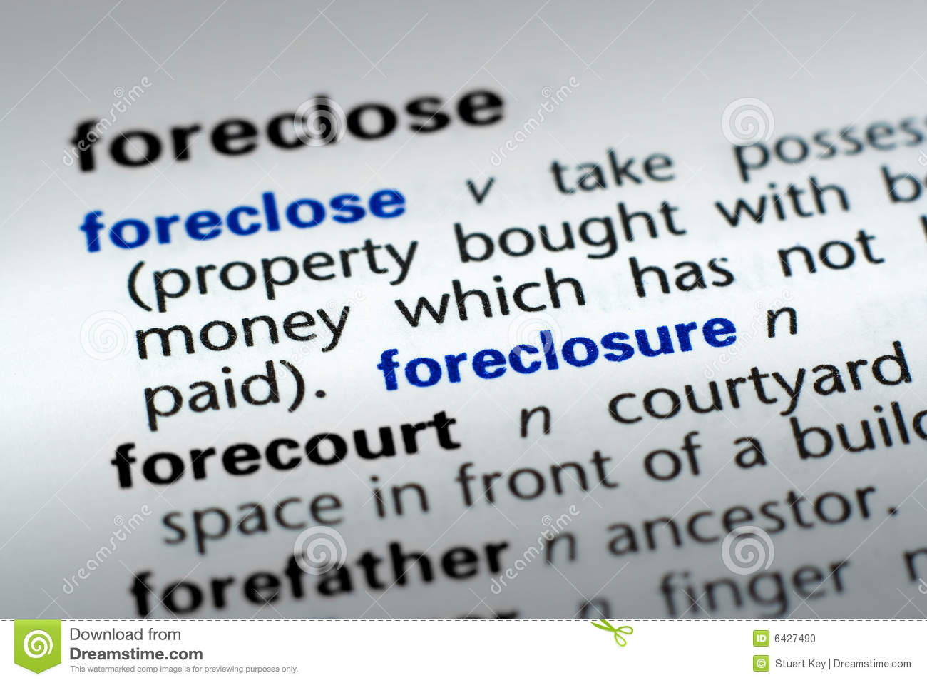 Definition Of Foreclosure Stock Photo - Image: 6427490
