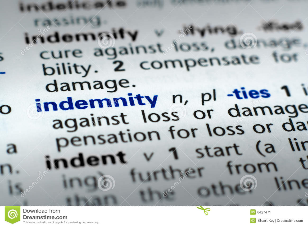 Definition Of Indemnity Stock Image Image 6427471