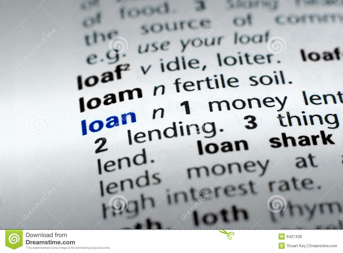 Definition Of Loan Royalty Free Stock Photos - Image: 6427438