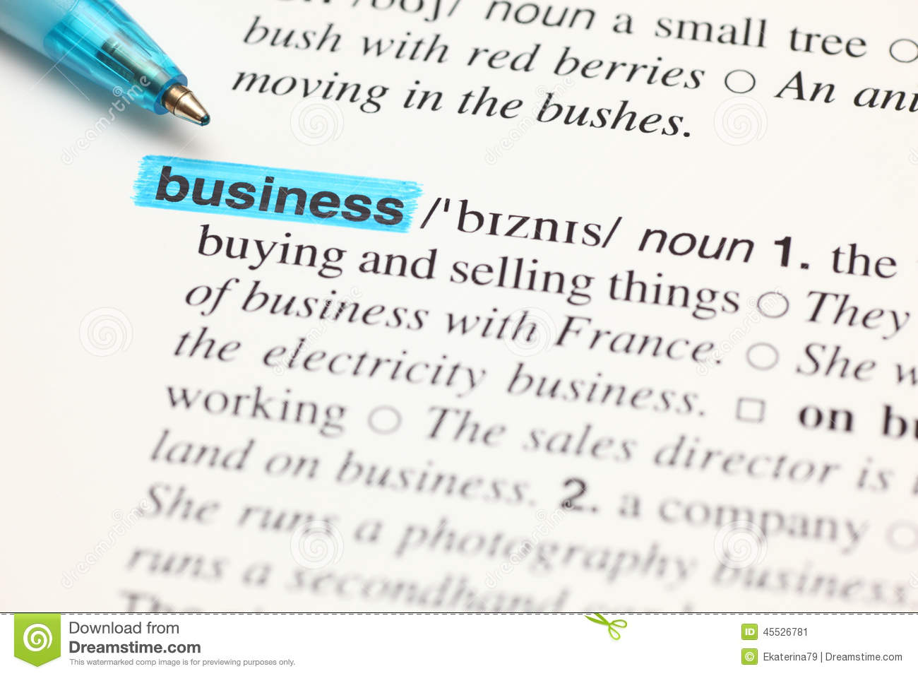 definition word business in dictionary stock image image of page