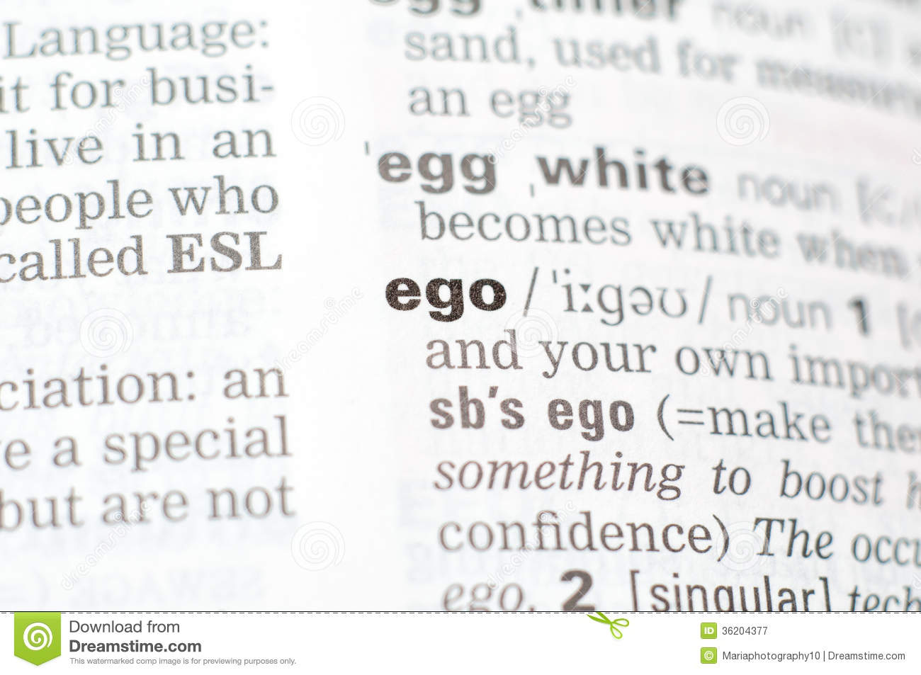 The Definition Of The Word Ego Stock Image - Image of black