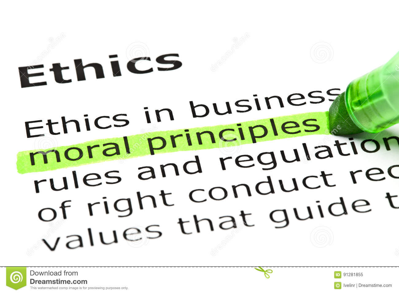 definition of the word ethics stock image - image of green