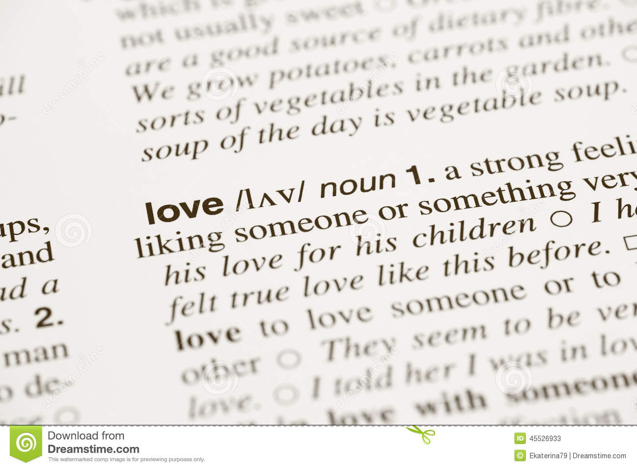 Definition Word Love In Dictionary Stock Photo - Image: 45526933