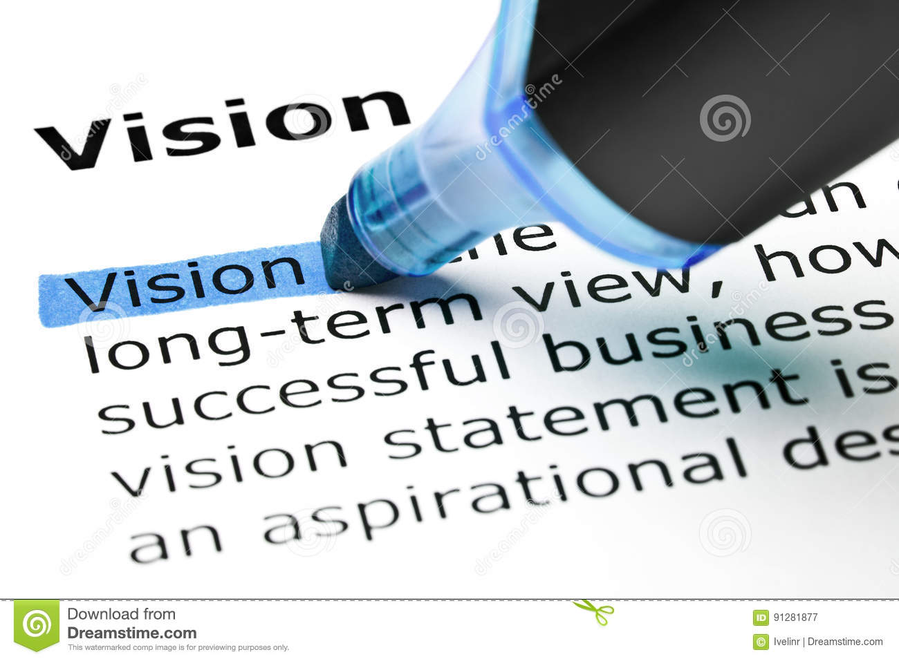 definition of the word vision stock image - image of business