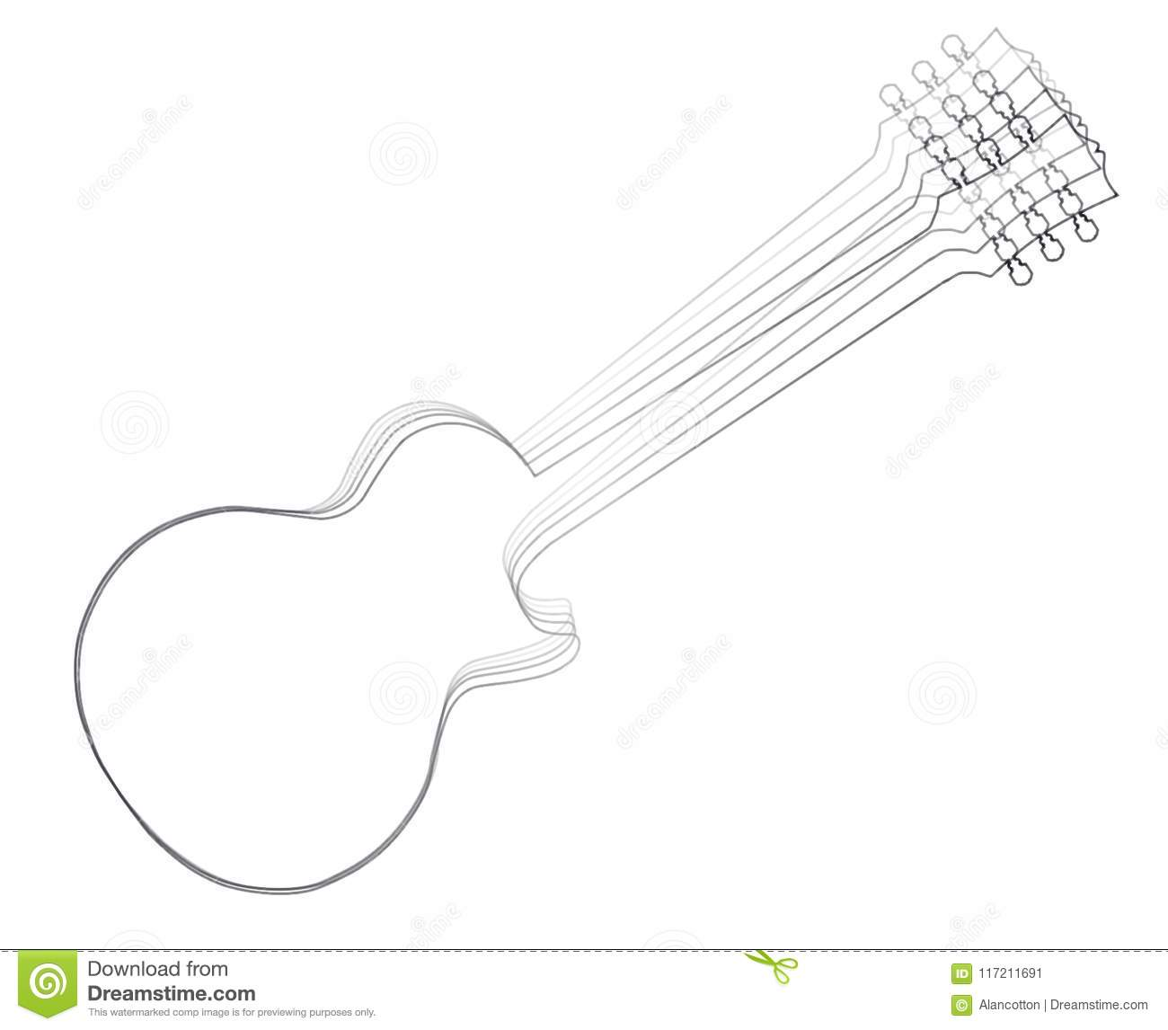 Moving Electric Guitar Outline Stock Vector Illustration Of Thread