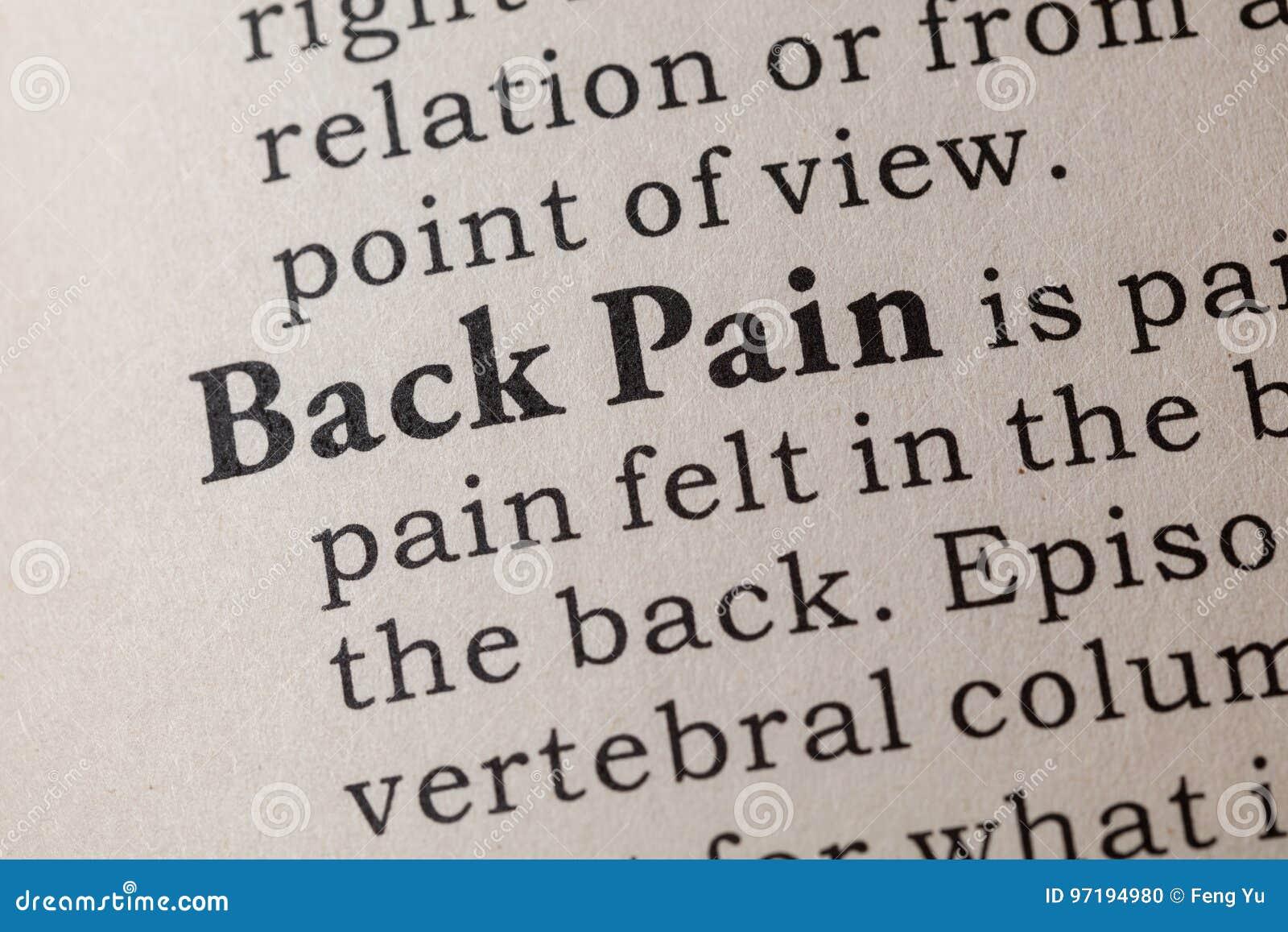 Definizione di dolore alla schiena