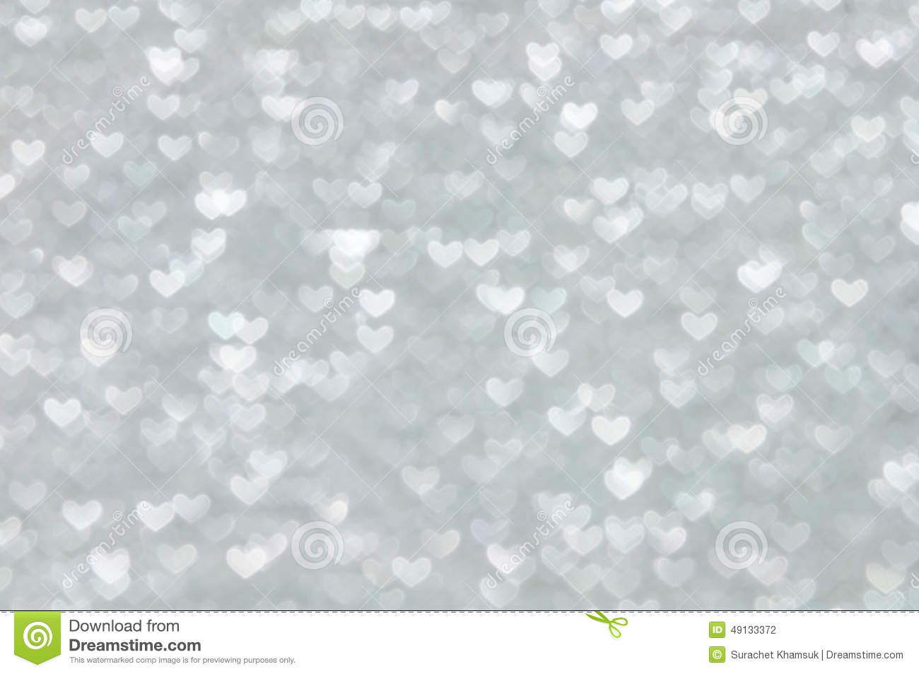 defocused abstract silver hearts light background stock
