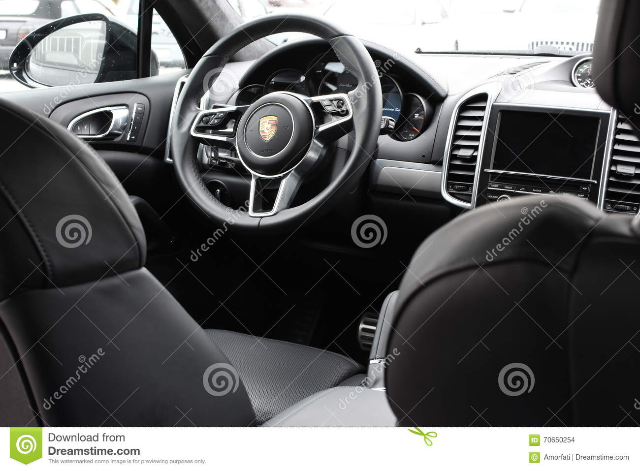 deggendorf germany 23 april 2016 interior of a 2016 porsche cayenne turbo suv during the. Black Bedroom Furniture Sets. Home Design Ideas