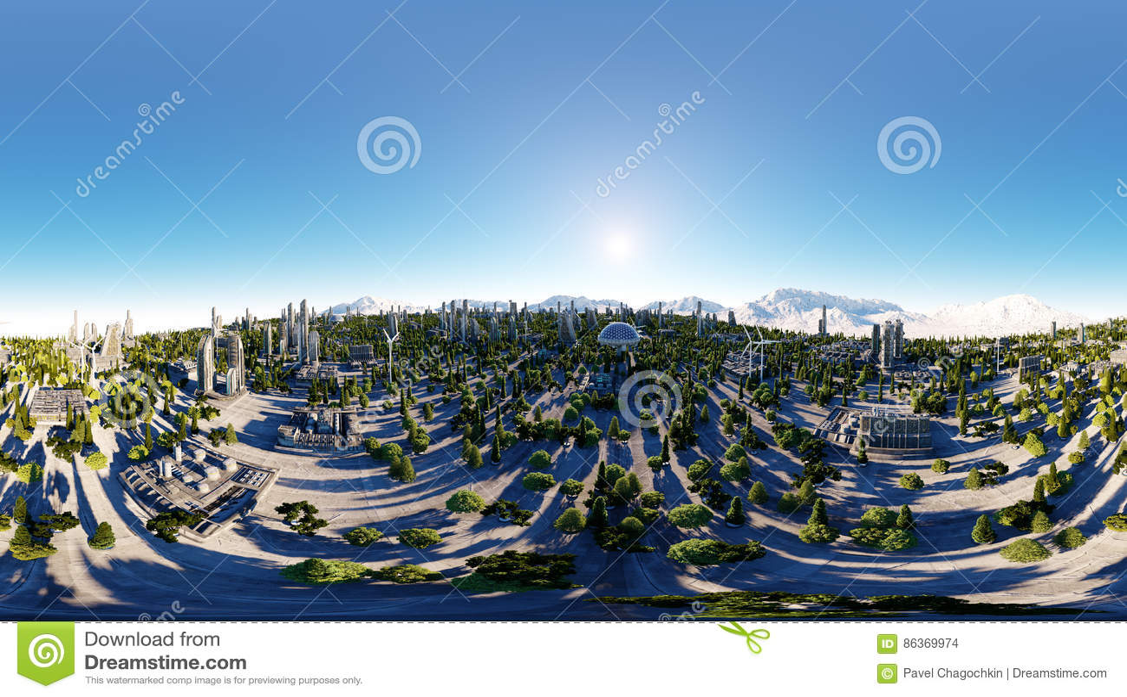 360 degrés Ville futuriste, ville Architecture de l avenir Silhouette d homme se recroquevillant d affaires rendu 3d Panorama sph