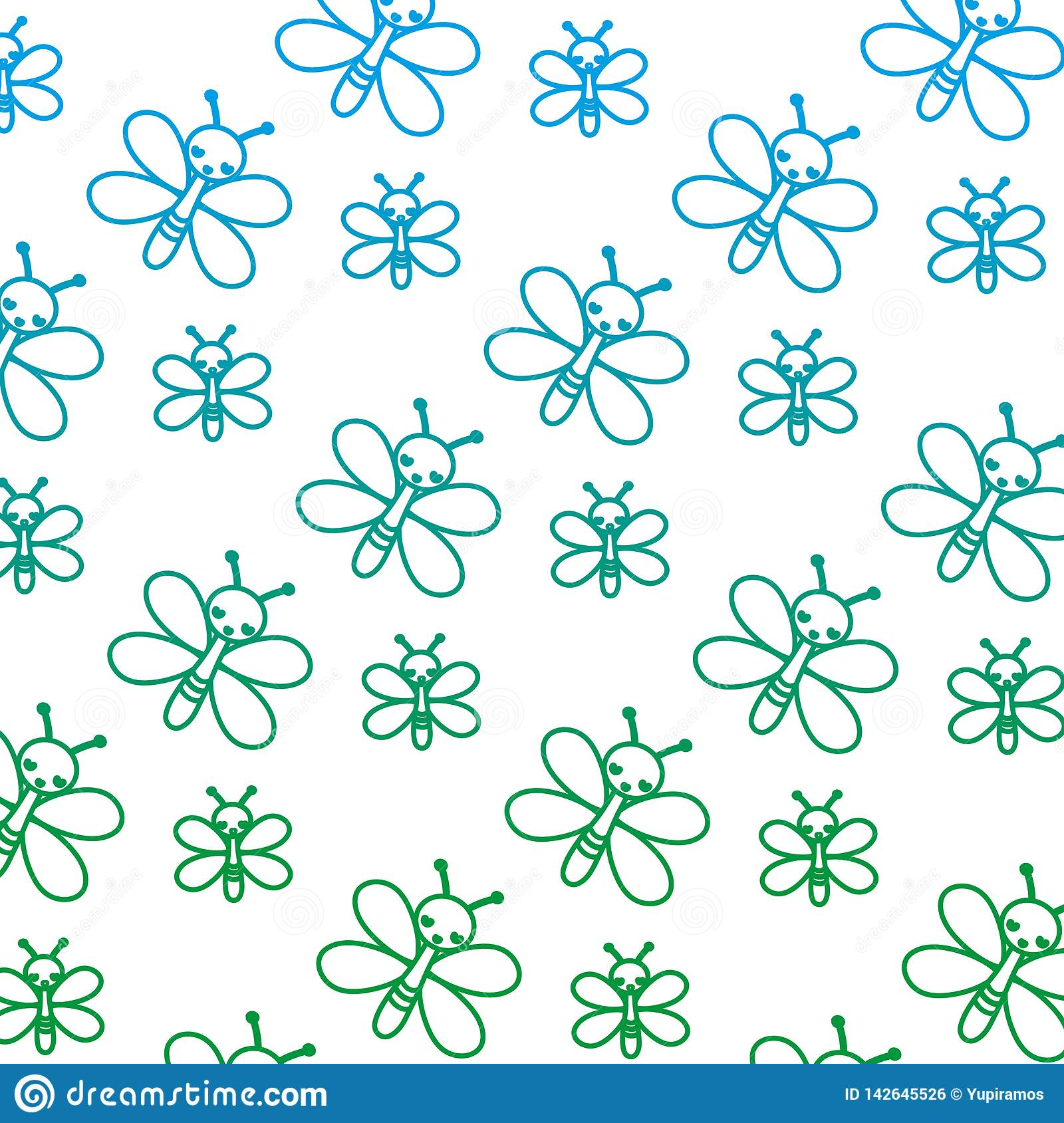 Degraded line cute butterfly insect animal background