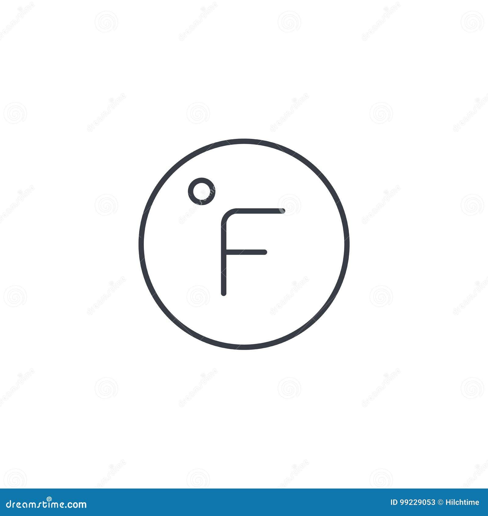 Degree fahrenheit thin line icon linear vector symbol stock degree fahrenheit thin line icon linear vector symbol biocorpaavc Choice Image
