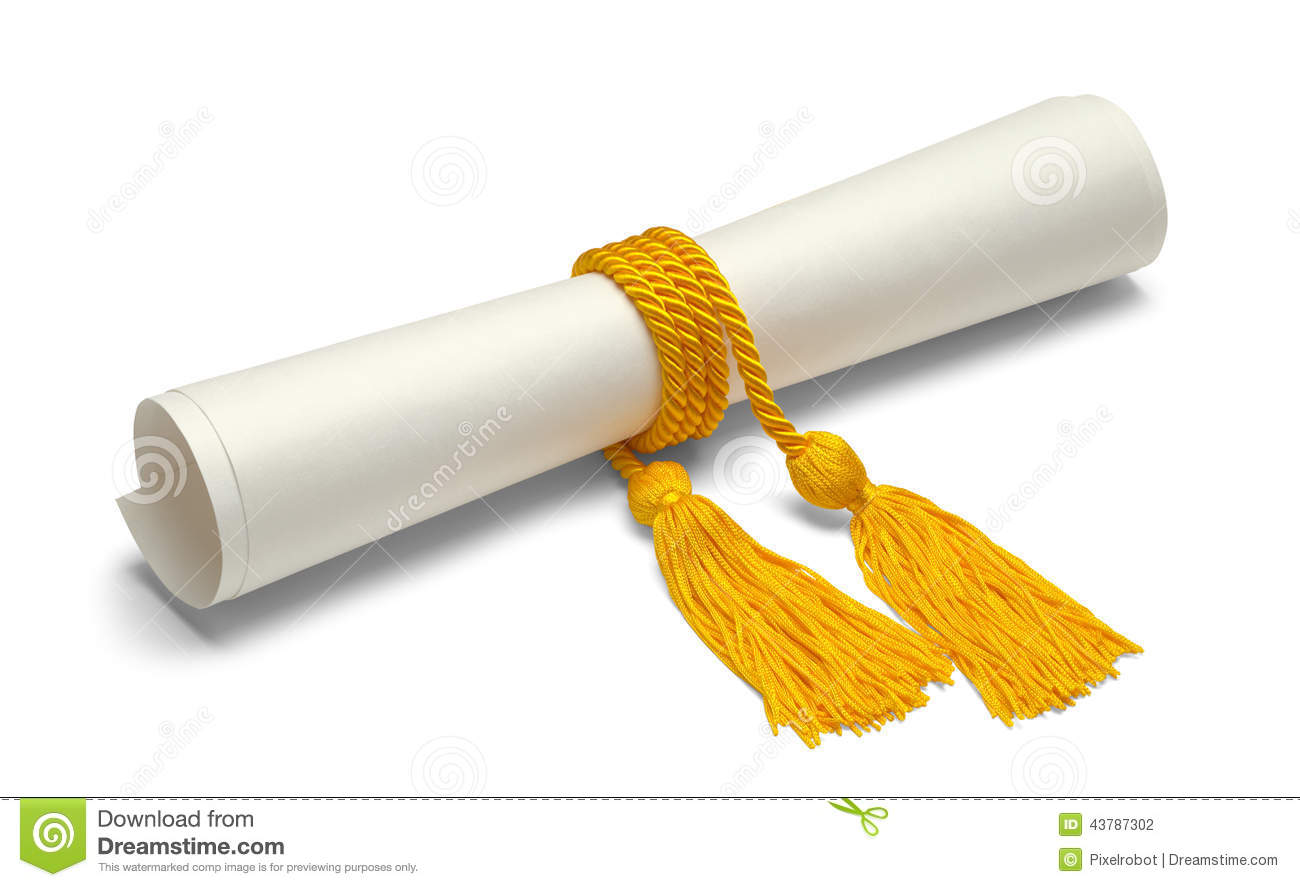 Diploma With Gold Honor Cords Isolated On White Background