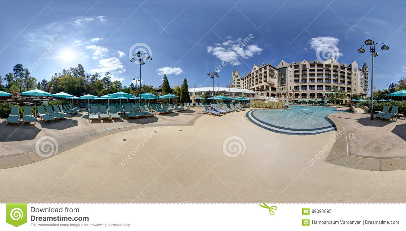 360 Degree Hotel And Swimming Pool Stock Image - Image of