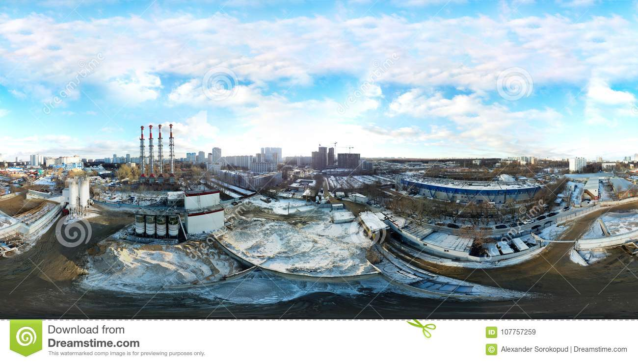 360 Degree Panoramic Aerial View Of Industrial Unhealthy Zone Ne