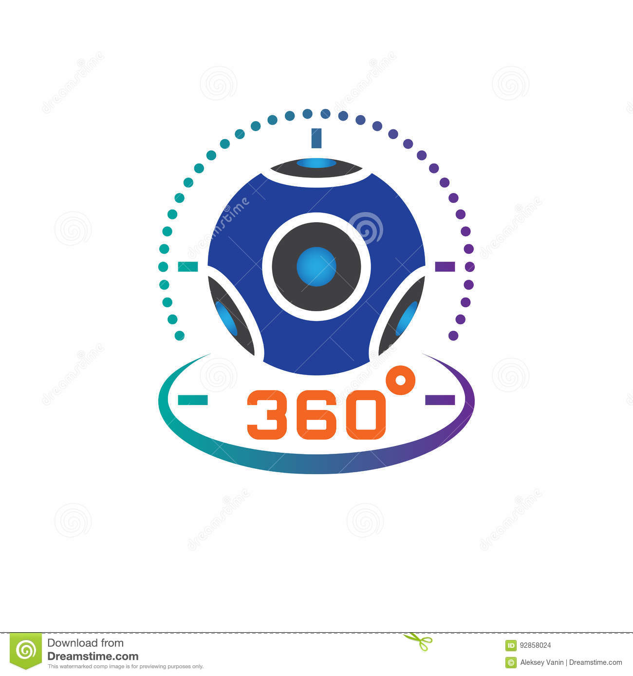 360 degree panoramic video camera icon vector, virtual reality device solid logo illustration, pictogram isolated on white.