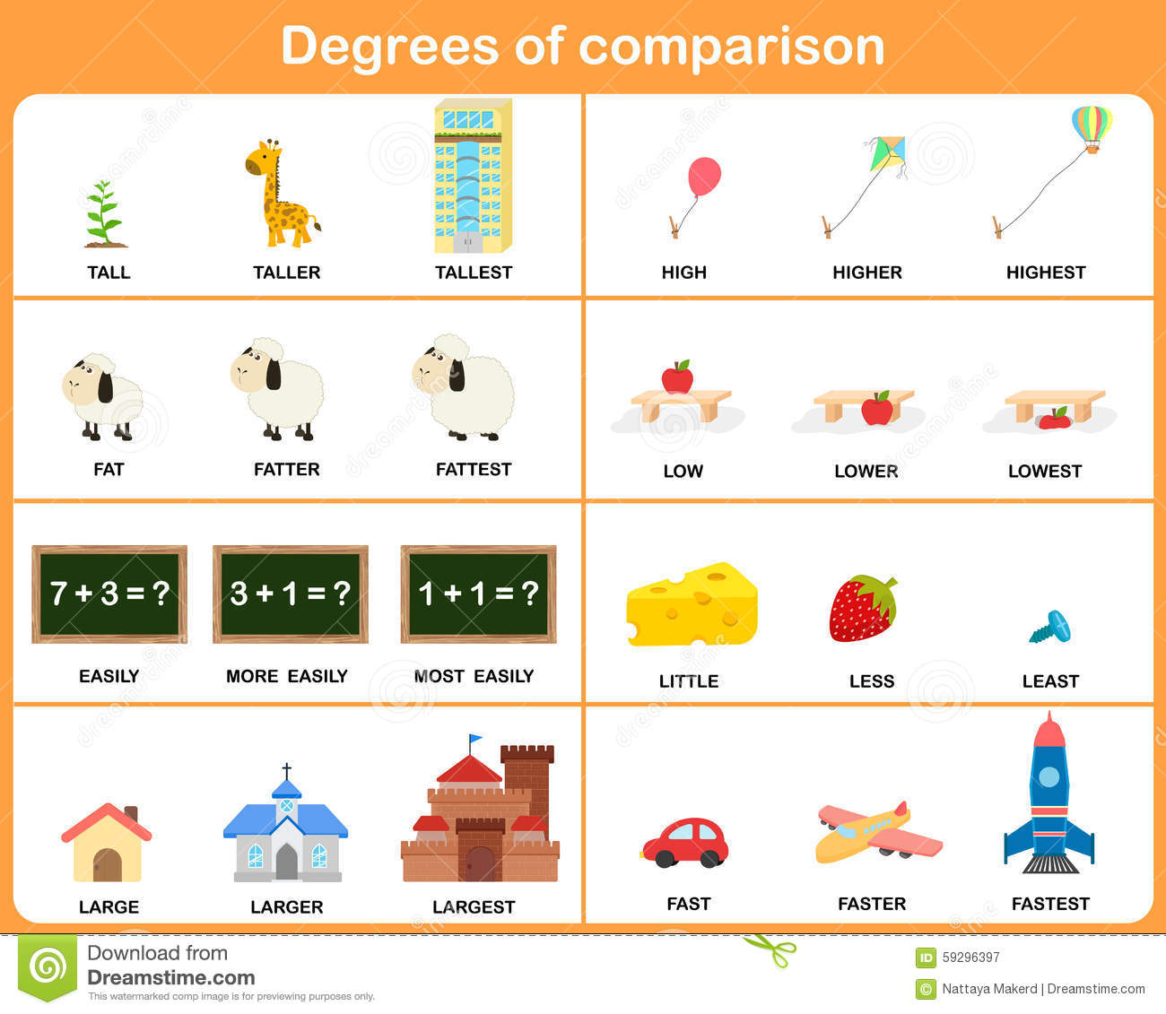 Degrees Of Comparison Adjective - Worksheet For Education Stock Vector ...