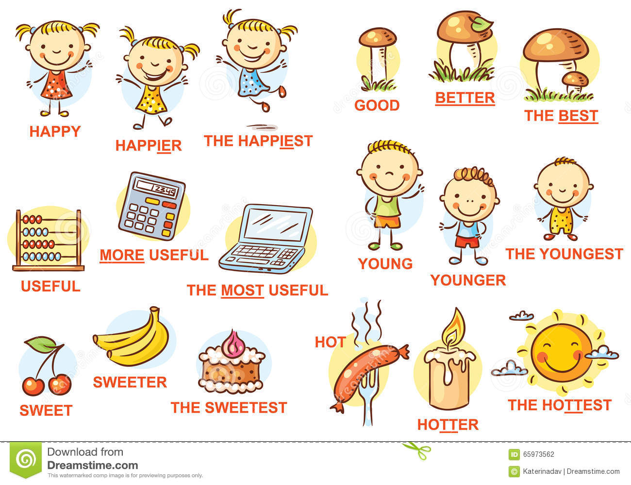 Stock Illustration Degrees Comparison Adjectives Pictures Colorful Cartoon Image65973562 on Adverbs Worksheets