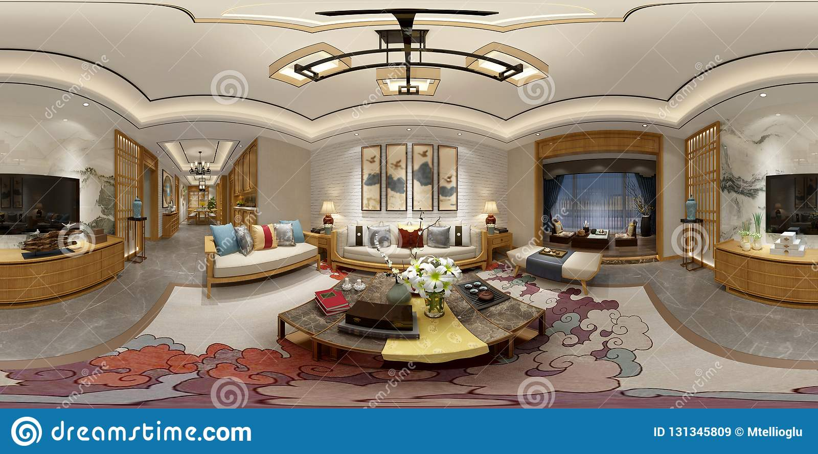 360 Degrees Home Interior Stock Illustration Illustration Of