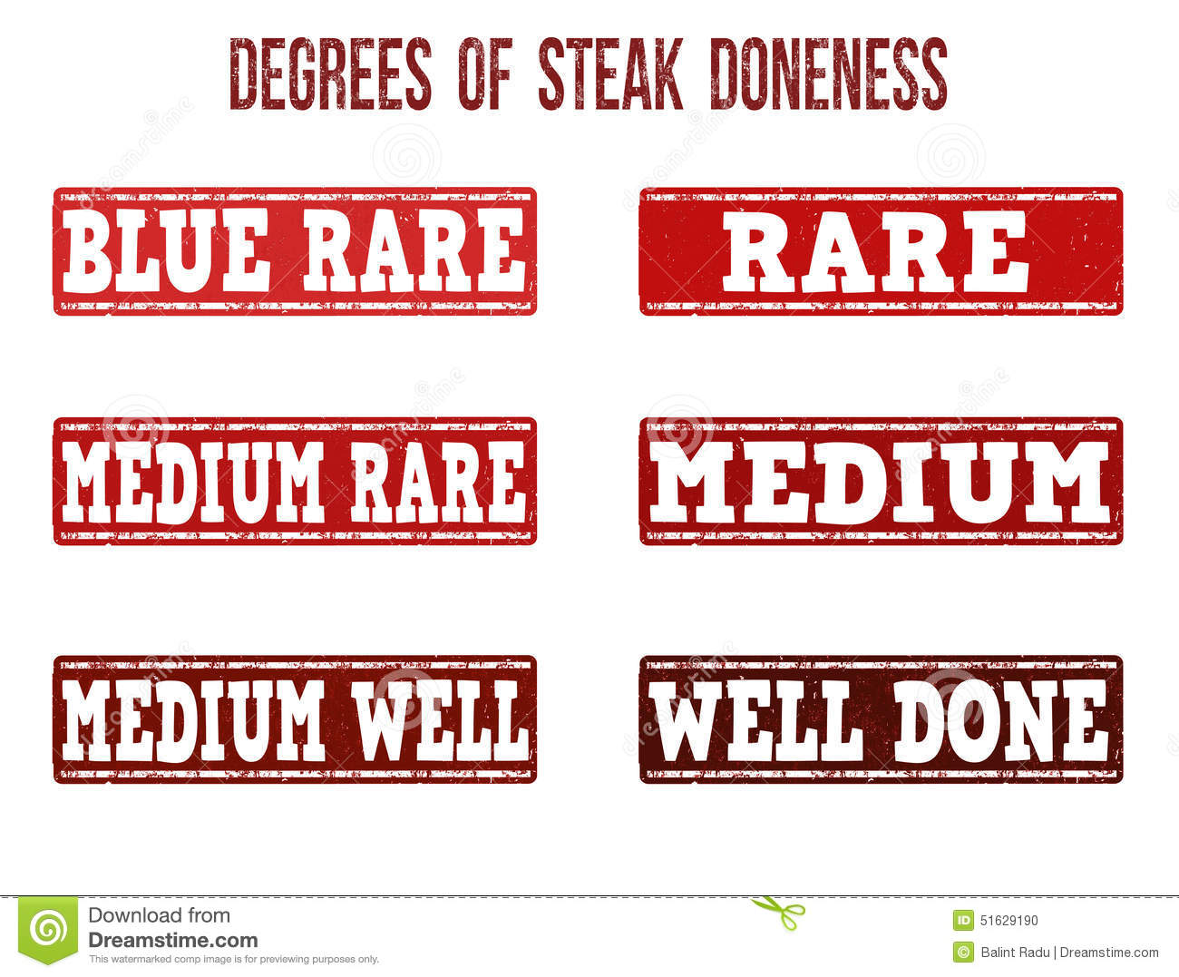 Degrees Of Steak Doneness Stamps Set Stock Vector