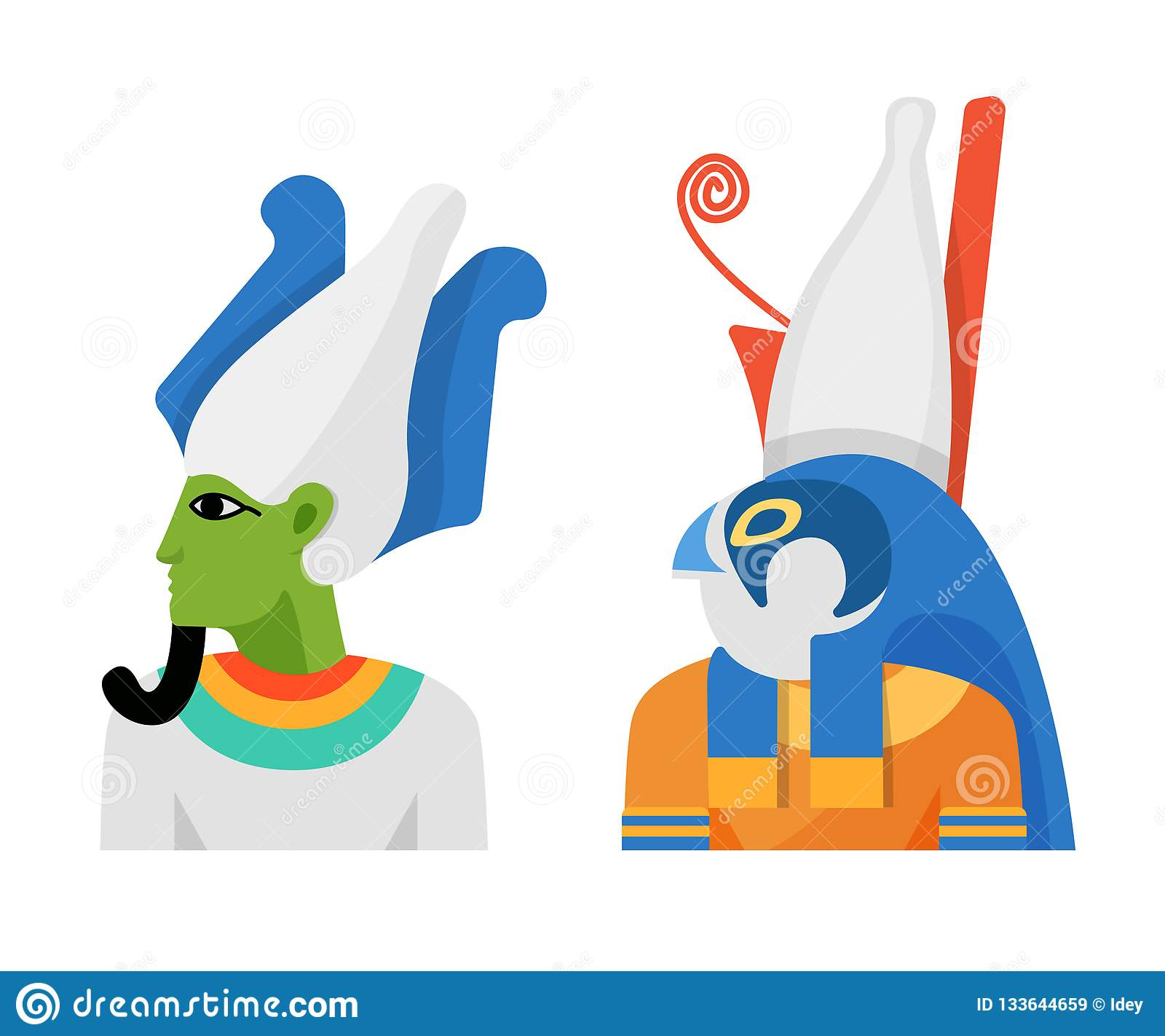 Dei antichi di mitologia egiziana, di Dio Osiris e della divinità Horus