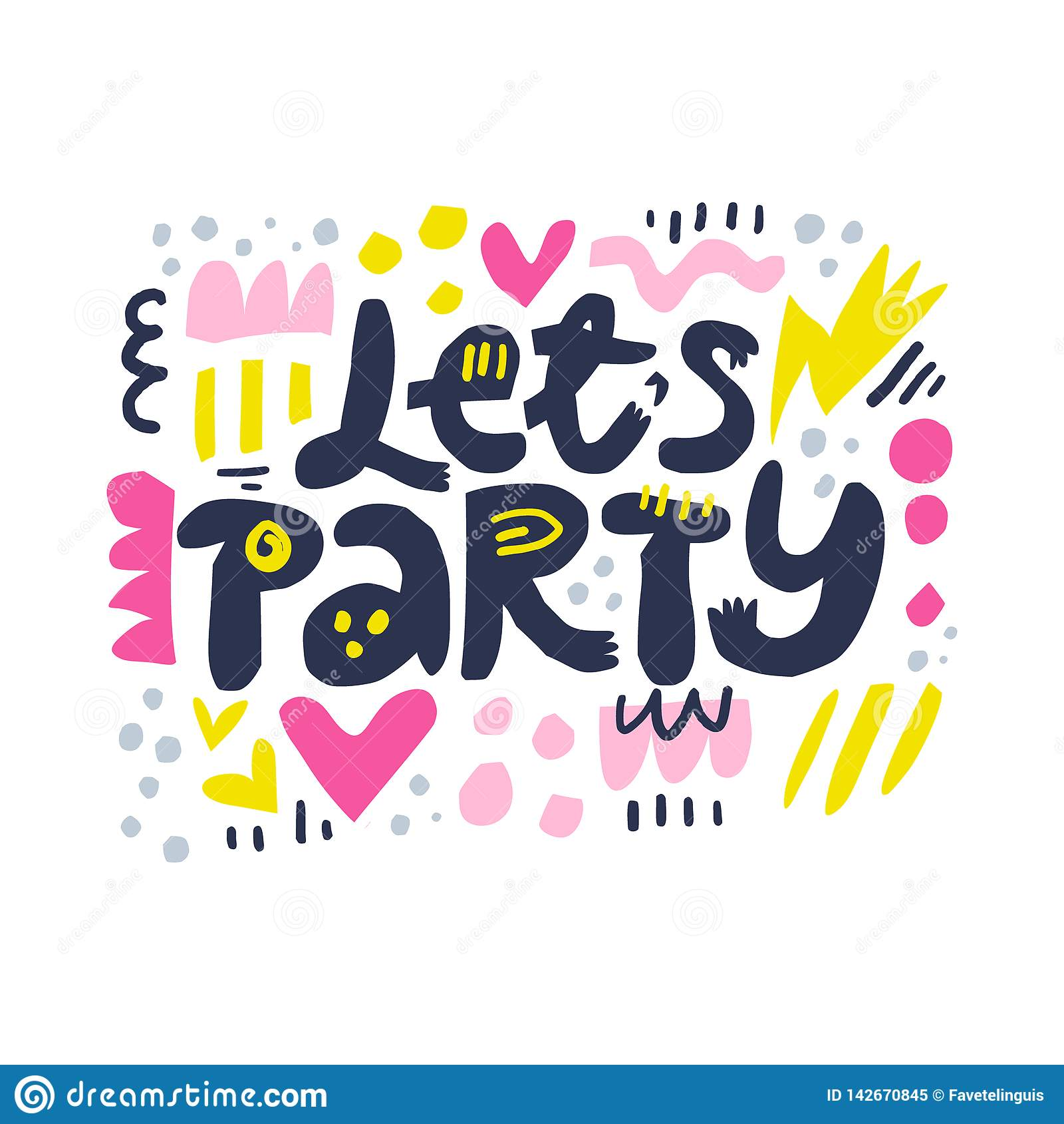 Deixa a ilustração do vetor das letras dos desenhos animados do partido
