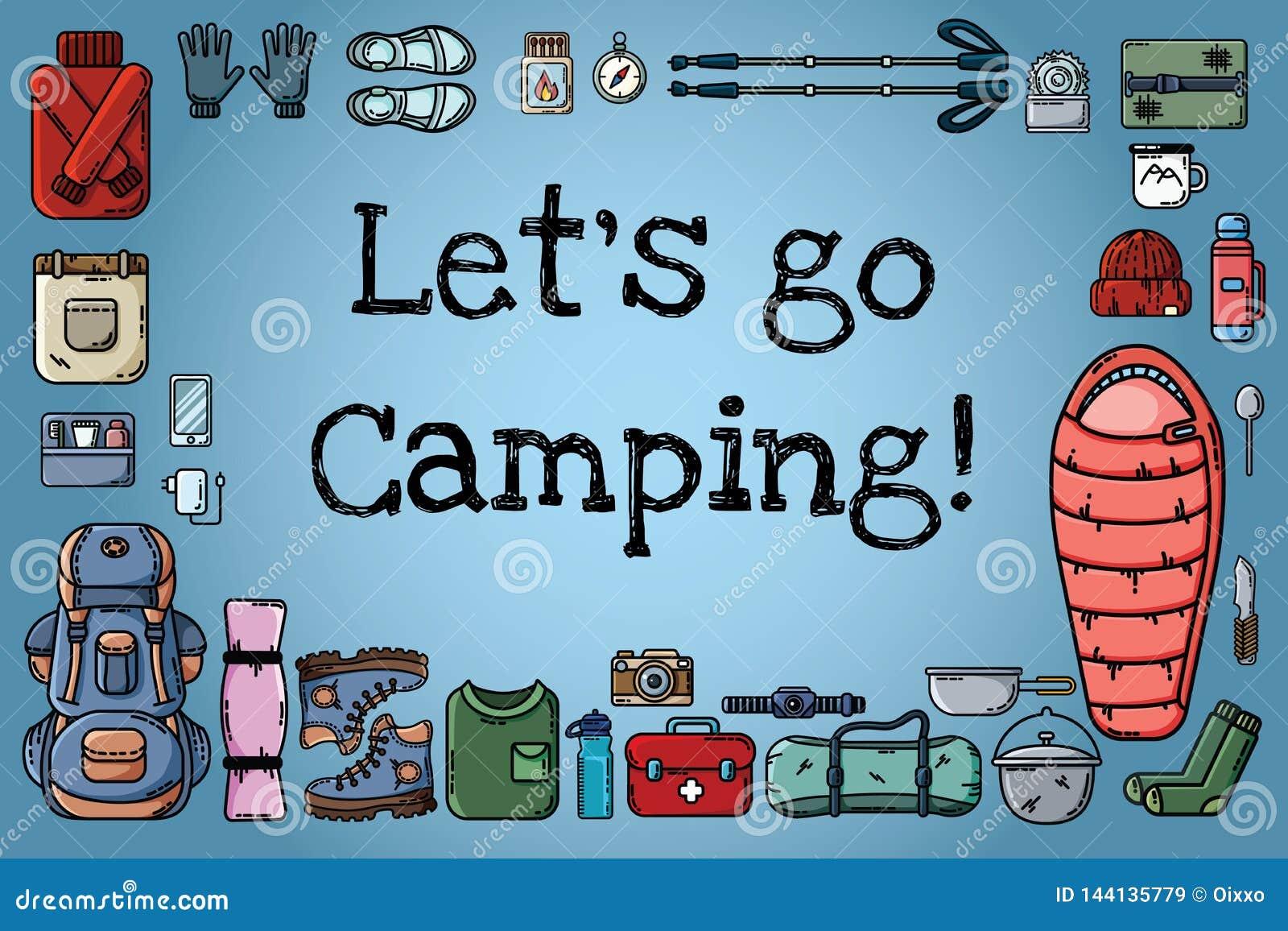 Deixe-nos ir cartaz de acampamento Ajuste dos ícones lisos do estilo arranjou em uma bandeira Caminhando a motivação