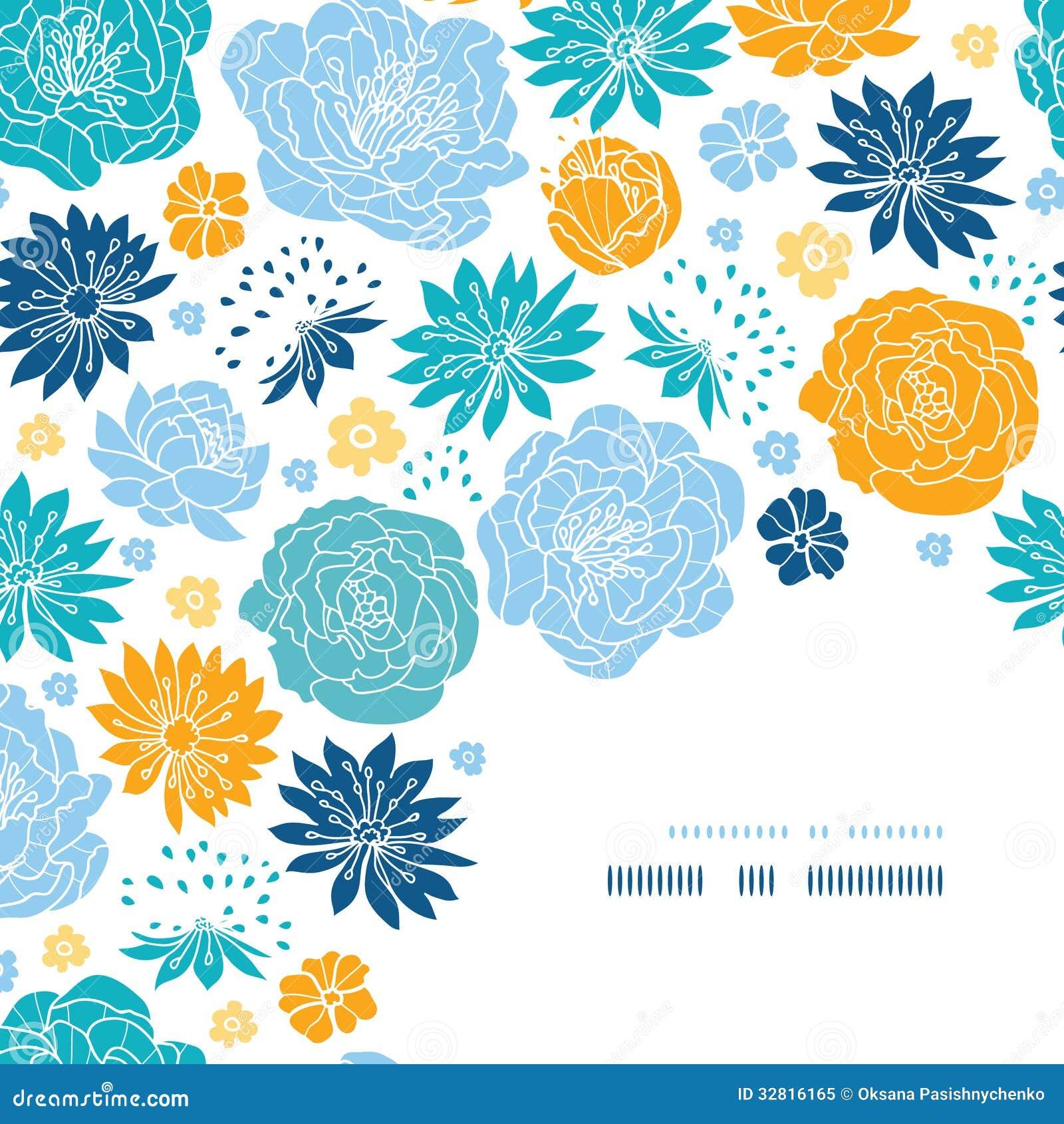 Dekor för hörn för blått- och gulingblommakonturer