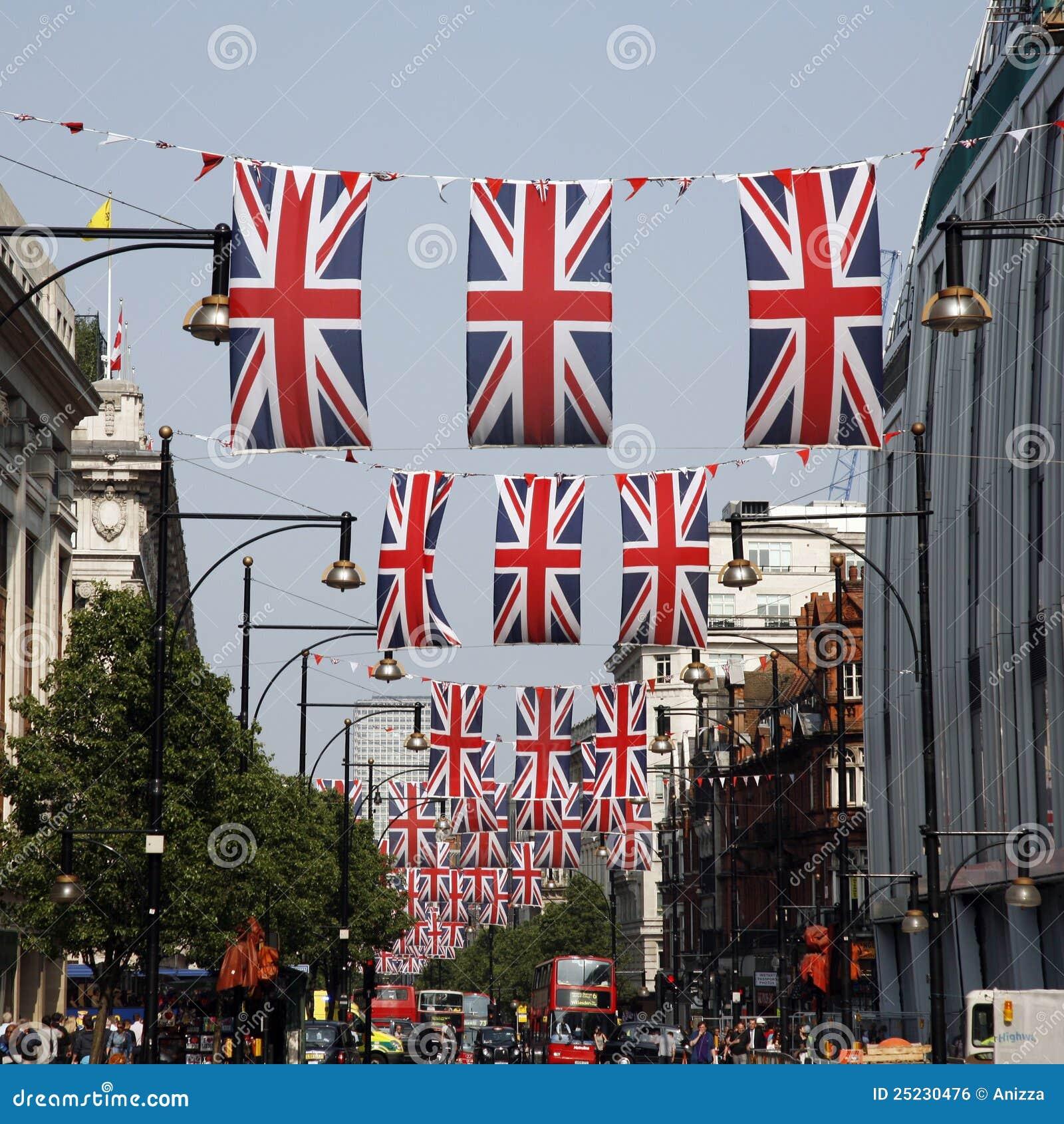 Dekoraci diamentowego jubileuszu Oxford królowej s ulica