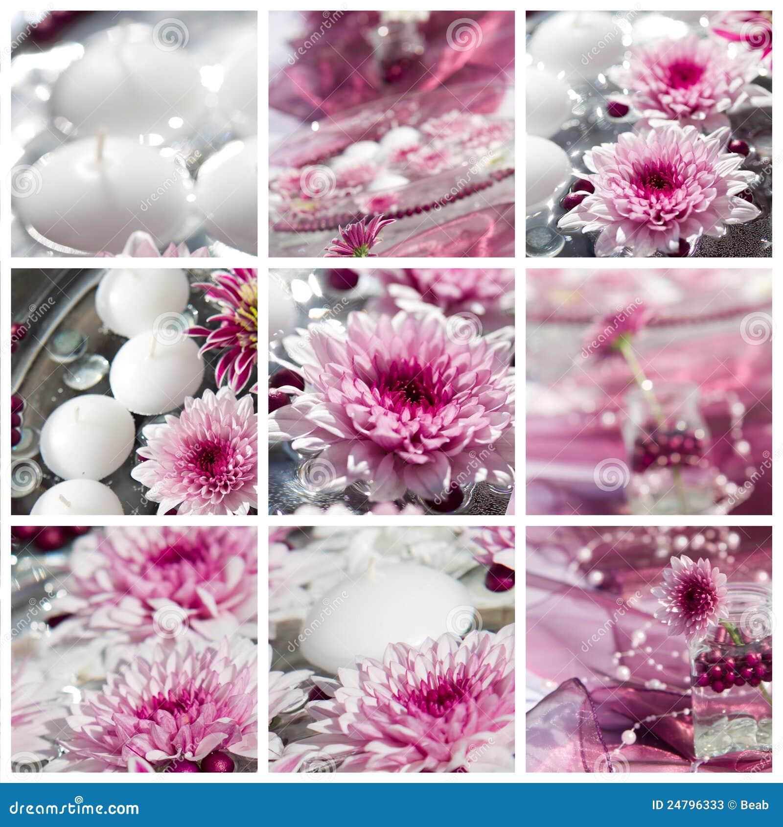 Dekoracj kwiatu makro- strzału stół