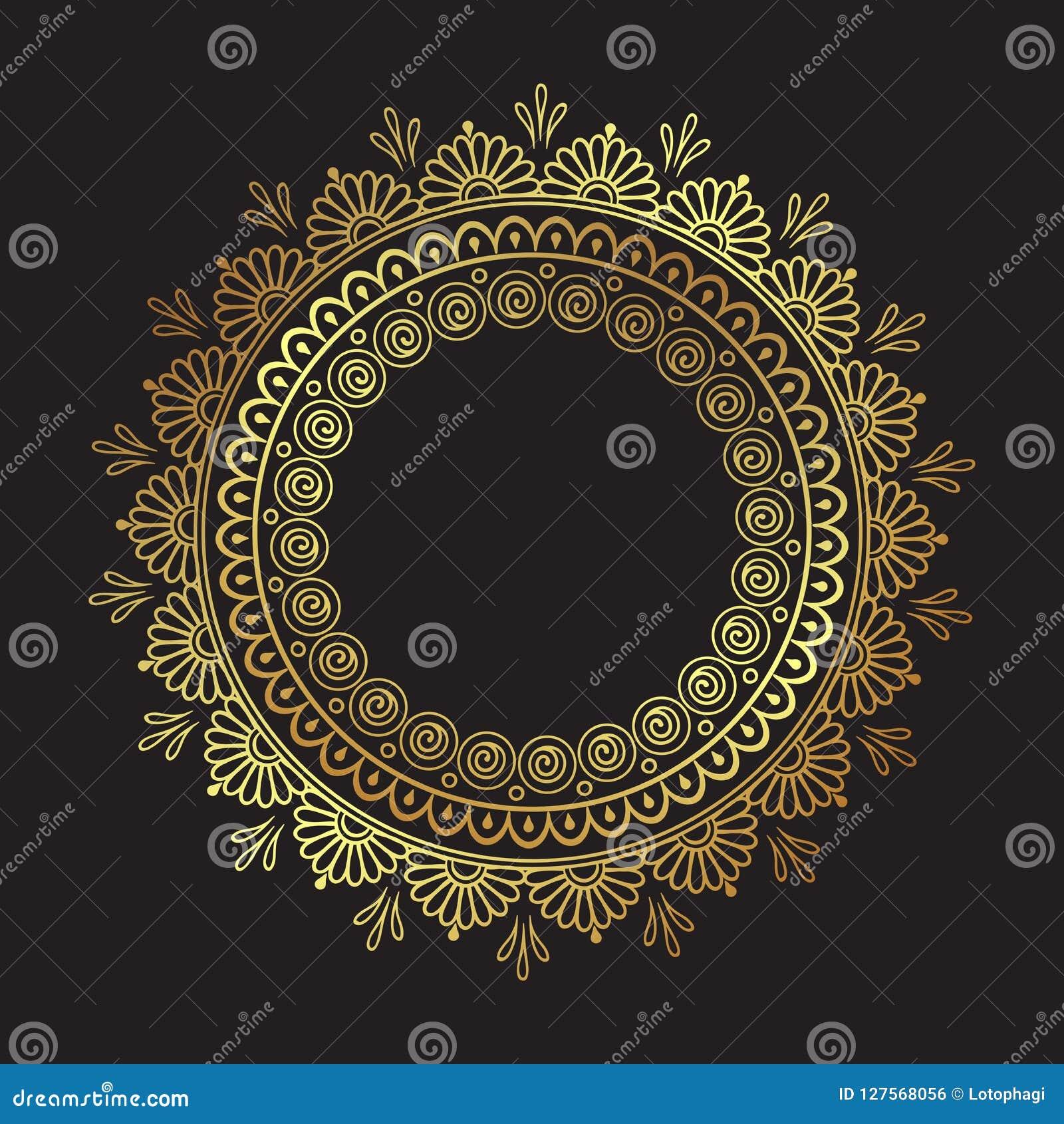 Dekoracyjnej Indiańskiej round koronki ozdobny złocisty mandala odizolowywający nad czarną tło sztuki ramy projekta wektoru ilust