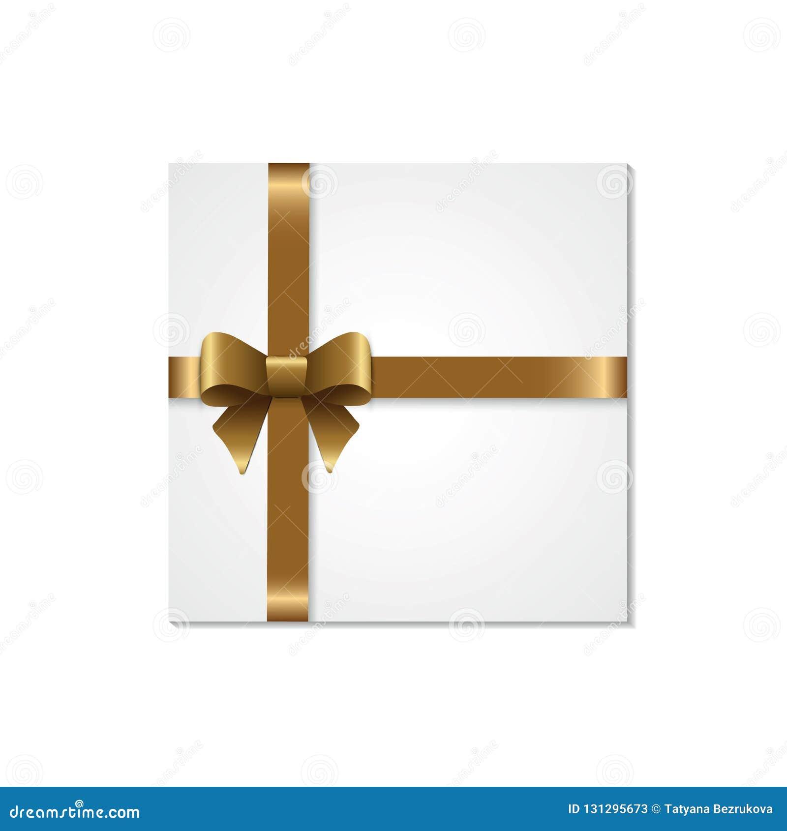 Dekoracyjni biali prezentów pudełka odizolowywający na białym tle Złoty łęk, tasiemkowy świąteczny element dla uroczystego projek