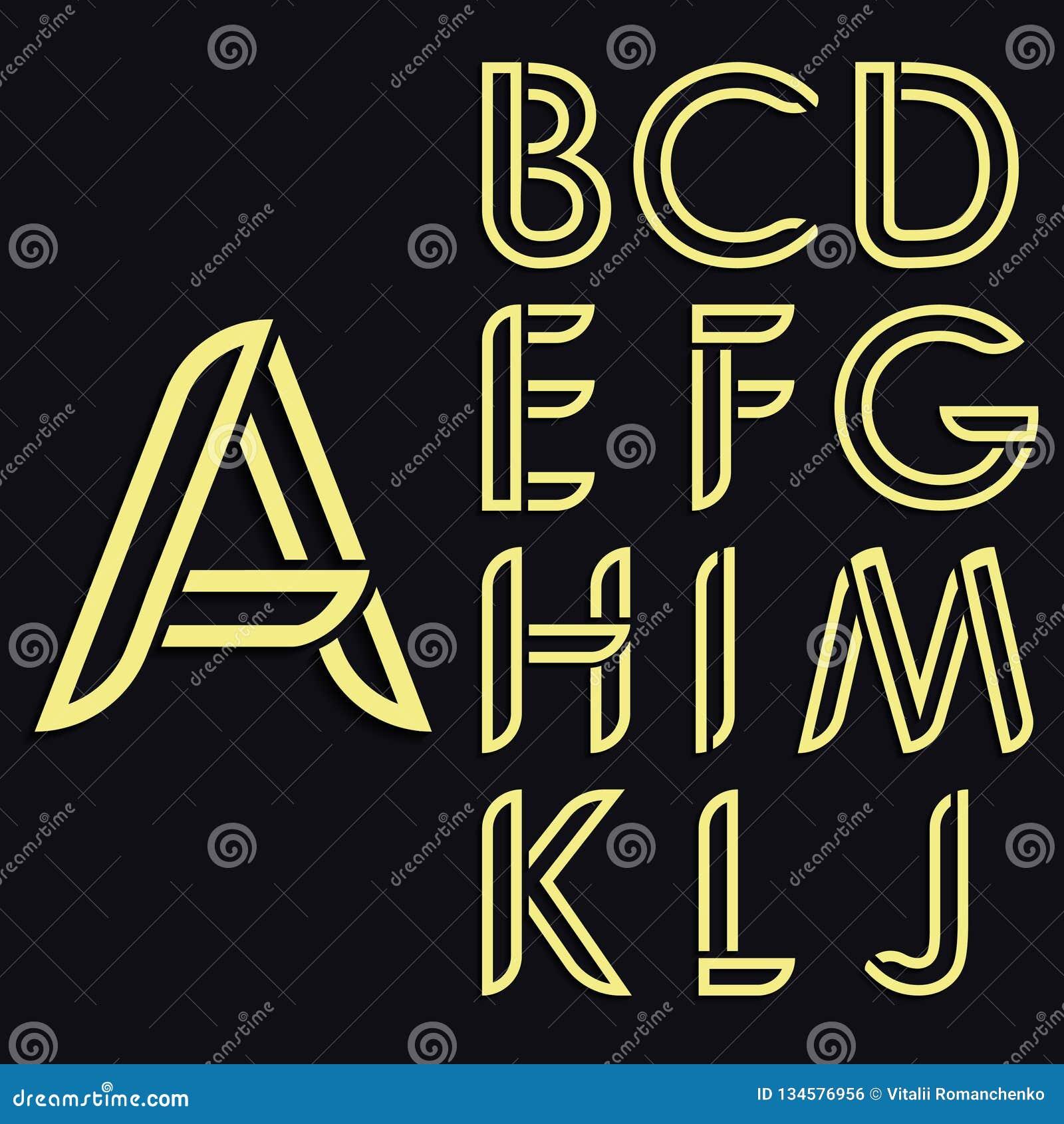 Dekoracyjny łaciński abecadło Zaokrągleni wektorowi złoto listy Styl cienkie linie Pełen wdzięku zaokrągla rejestry