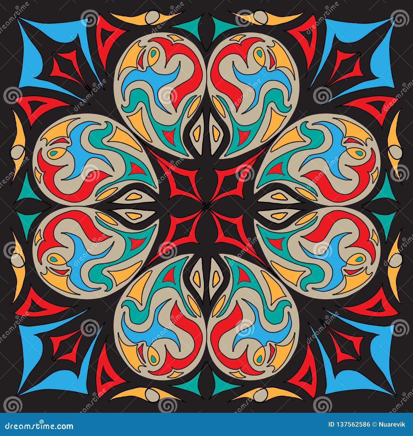 Dekoracyjny abstrakt taflujący projekta szalika wschodni mediterranian wzór