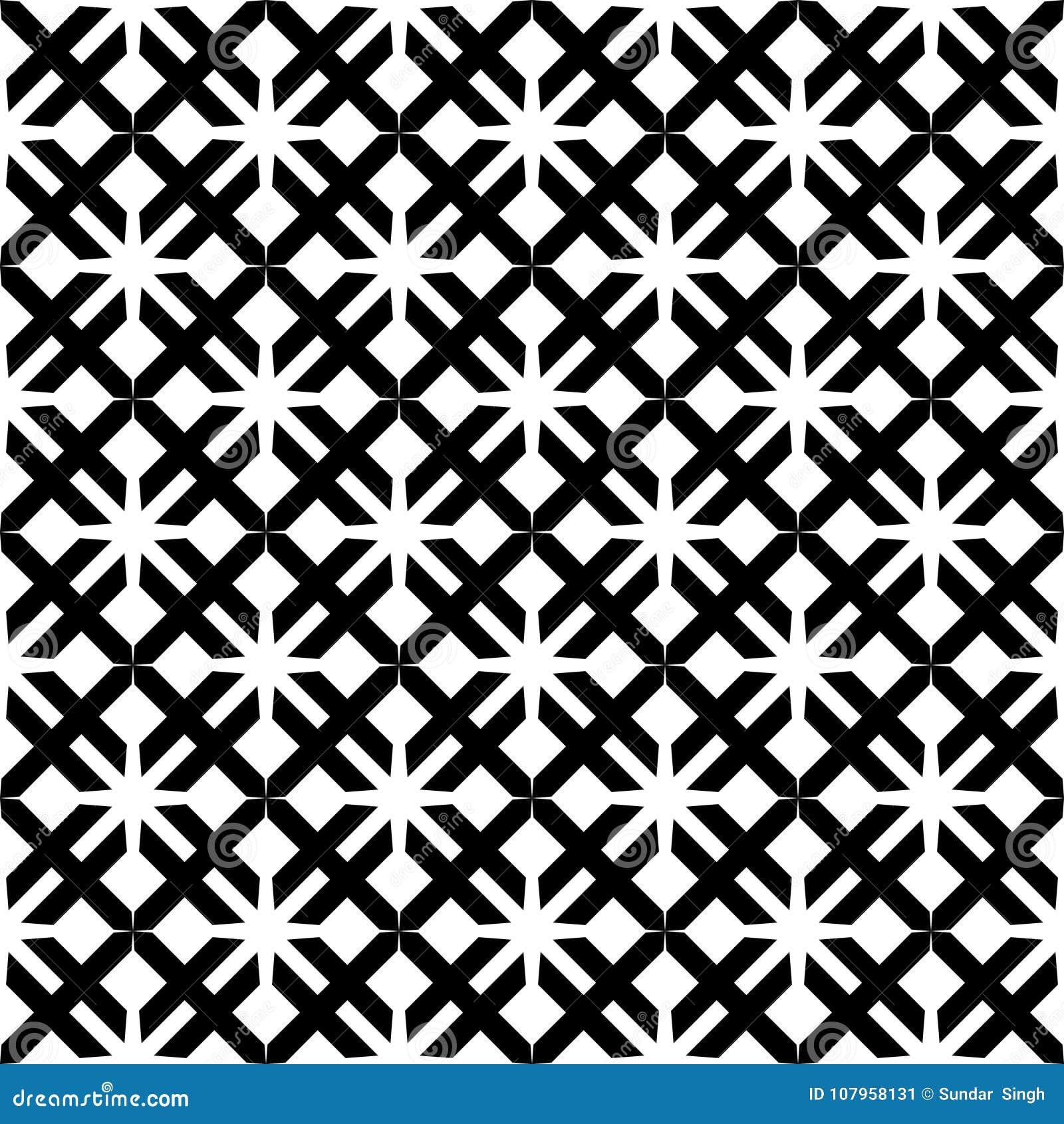 Dekoracyjny Bezszwowy Kwiecisty Geometryczny Czarny & Biały Deseniowy tło