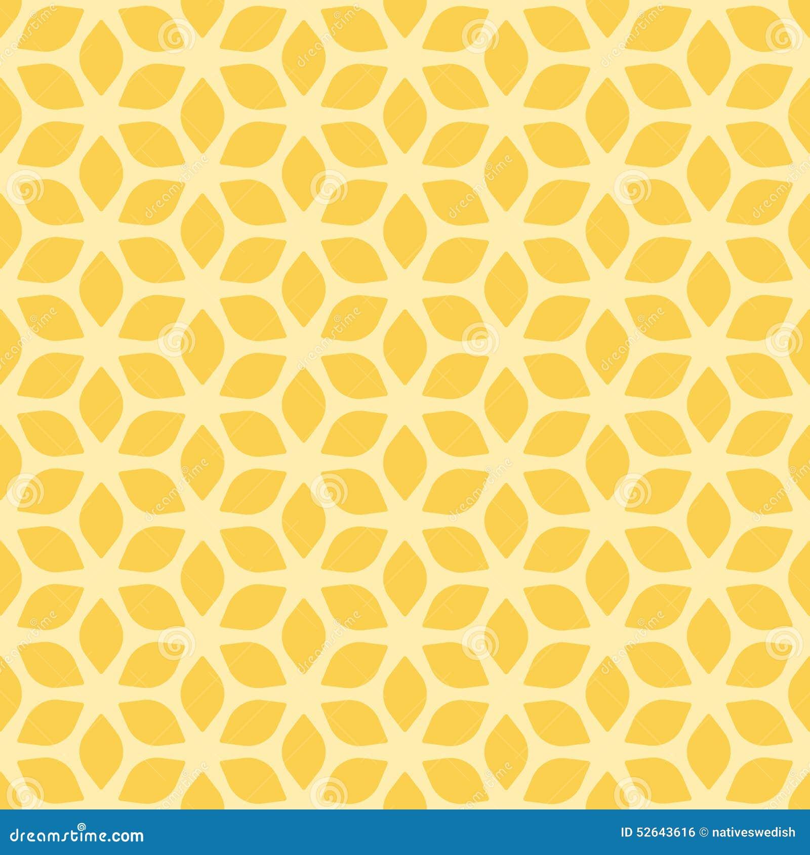 Dekoracyjny Bezszwowy Kwiecisty Geometryczny koloru żółtego wzoru tło