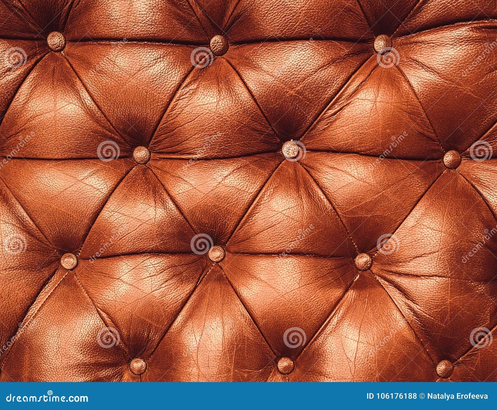Dekoracyjny imbirowy tło prawdziwa skóra Dekoracyjny brown tło prawdziwej skóry capitone tekstura