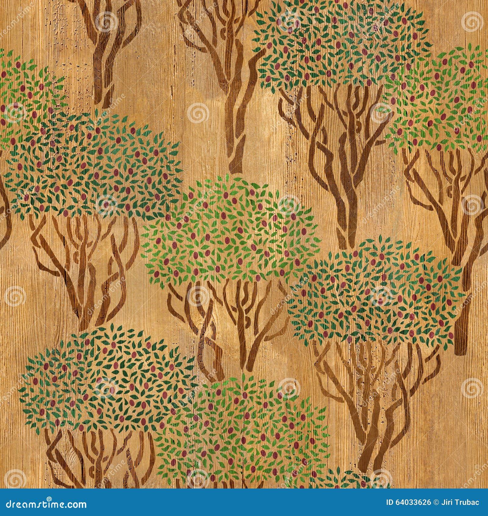 Dekoracyjny oliwny gaj - bezszwowy tło