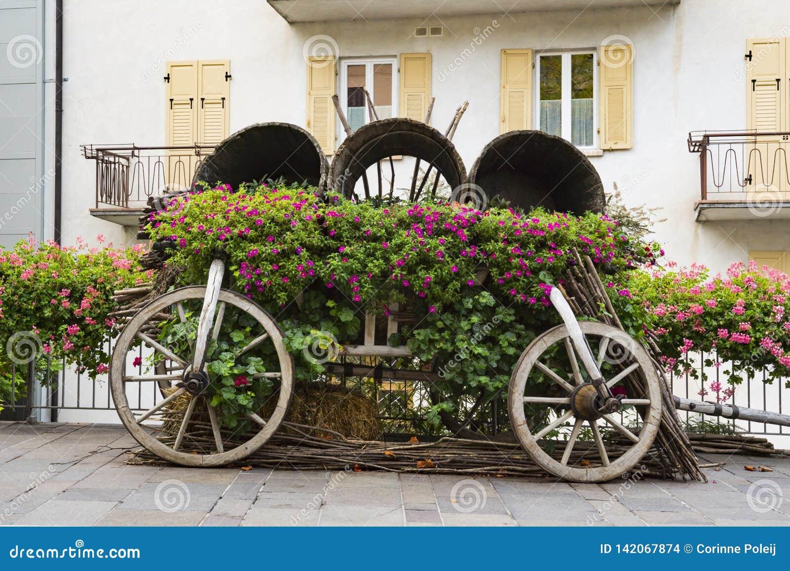 Dekoracyjny samochód z kwiatami w ulicznym Levico Termen, Włochy