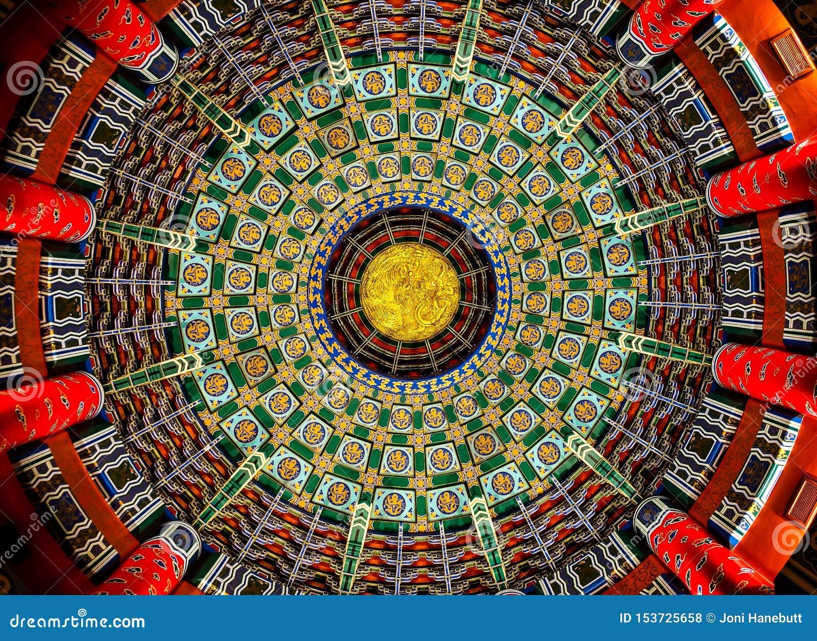 Dekoracyjny sufit przy Chińskim pawilonem