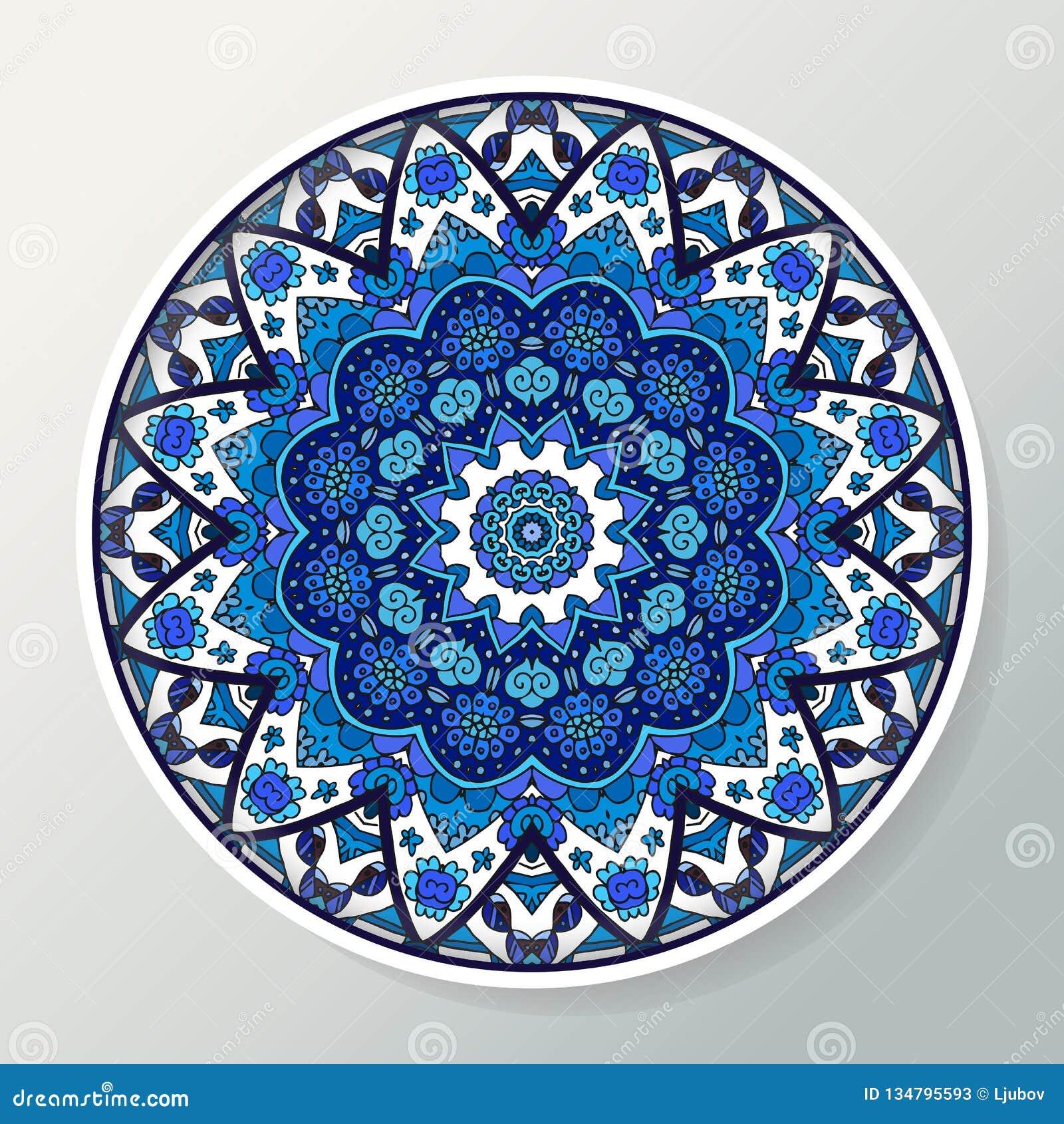 Dekoracyjny talerz z round ornamentem w etnicznym stylu Mandala w błękitnych kolorach Orientała wzór również zwrócić corel ilustr