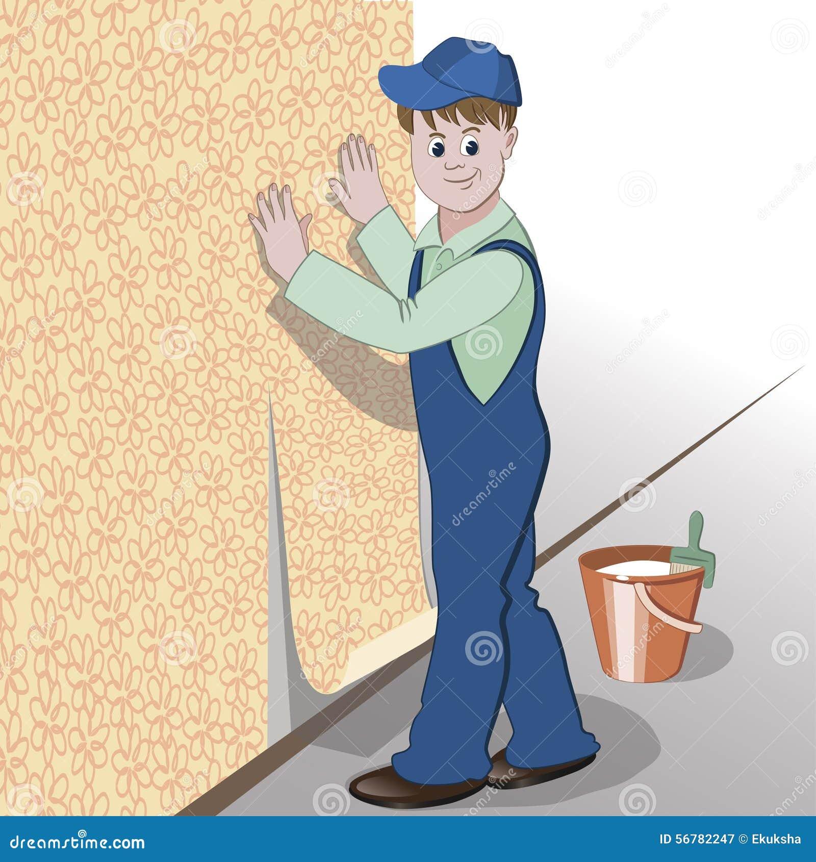 Dekoratören eller faktotumet limmar tapeten till väggen