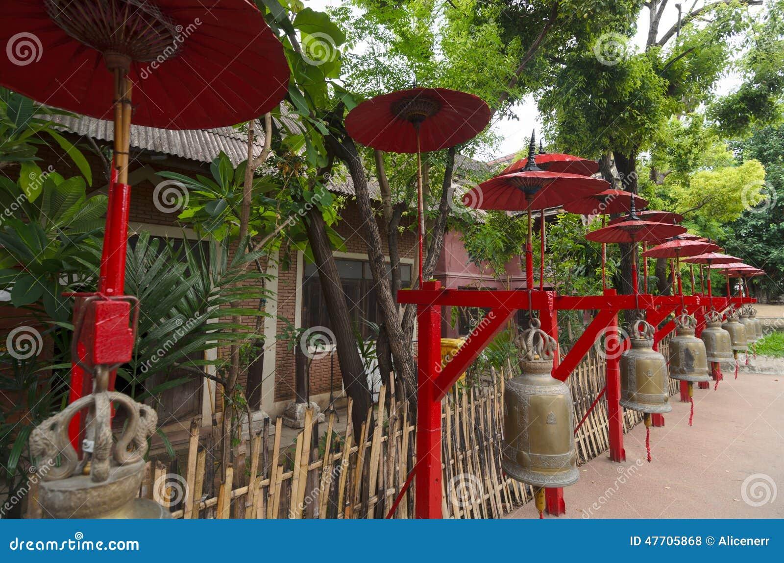 Dekoration Am Buddhistischen Tempel: Glocken Unter Roten ...