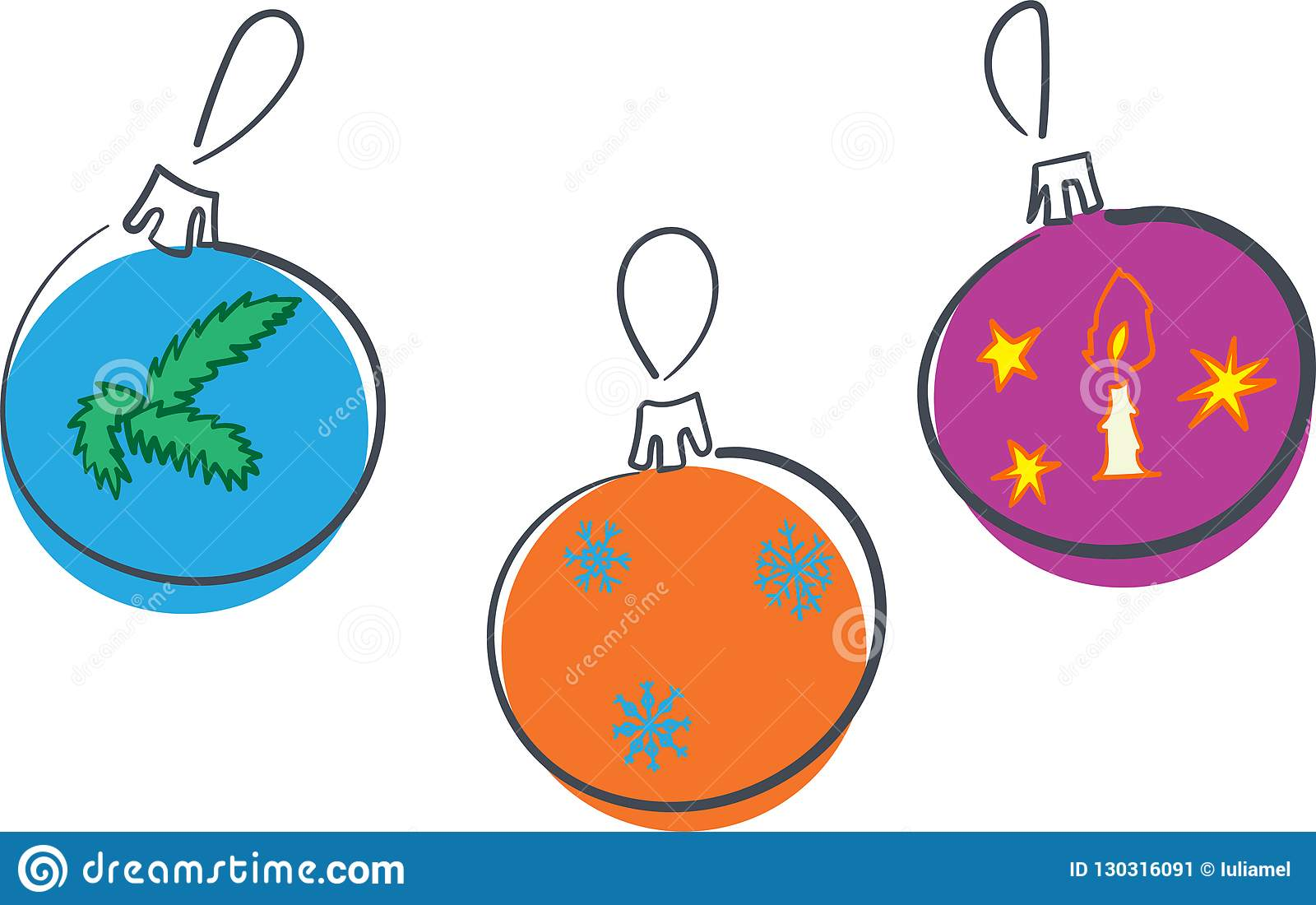 Dekorationsbälle des neuen Jahres drei verschiedene Verzierungen mit Schneeflocken Kerze und Niederlassung, Vektor Illustration