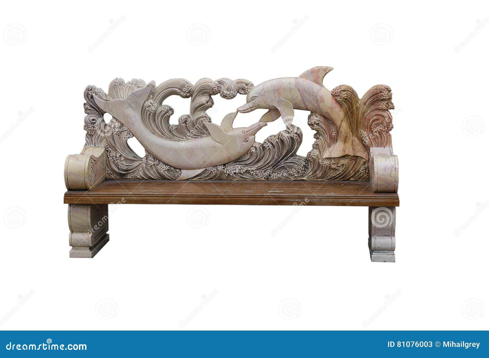 Dekorativ bänk som göras av stenen och trä